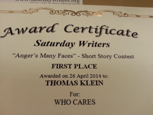 Saturday Writers 1st Place
